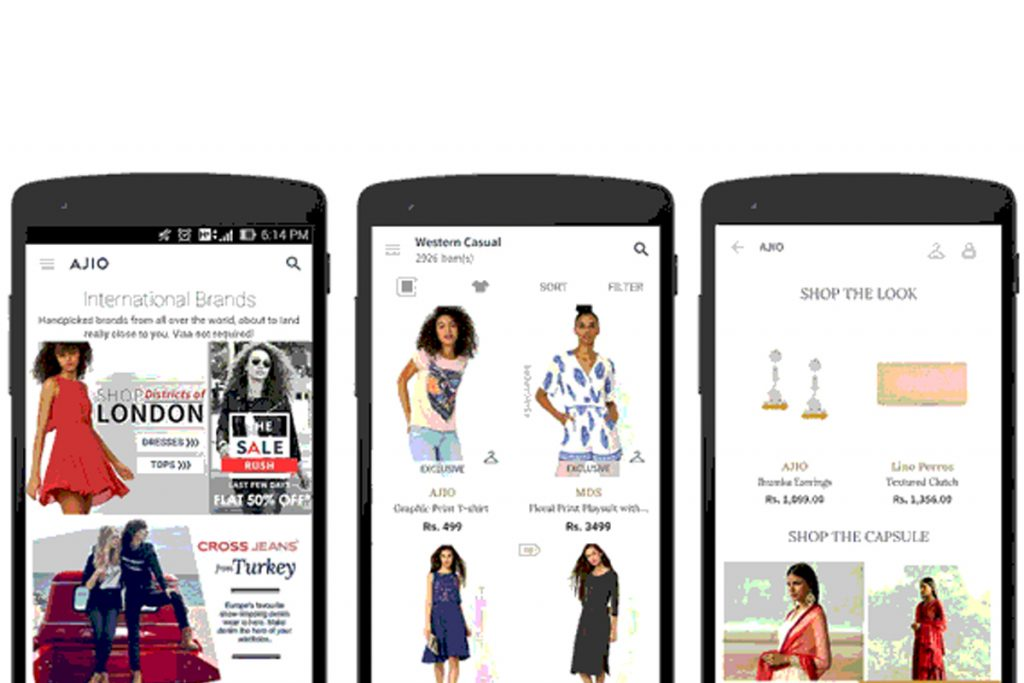 online shopping mobile application like Ajio