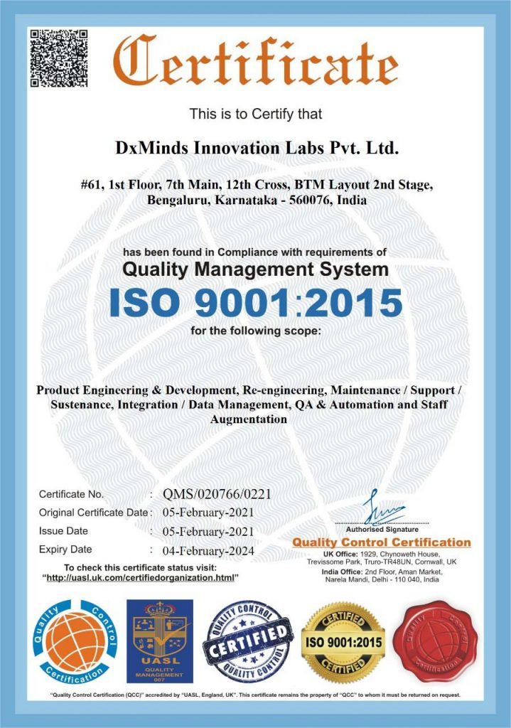 ISO 9001-2015Certification DxMinds